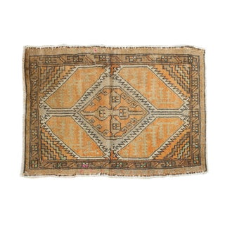 "Vintage Distressed Oushak Square Rug Mat - 1'10"" X 2'6"" For Sale"