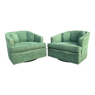 Mid Century Velvet Swivel Club Chairs by Kaylyn - A Pair
