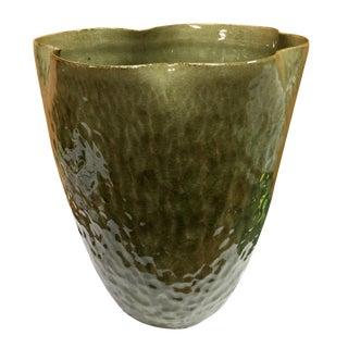 Celadon Finish Ceramic Vase For Sale
