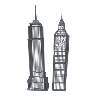 Late 20th Century Wire Architectural Sculptures - a Pair For Sale