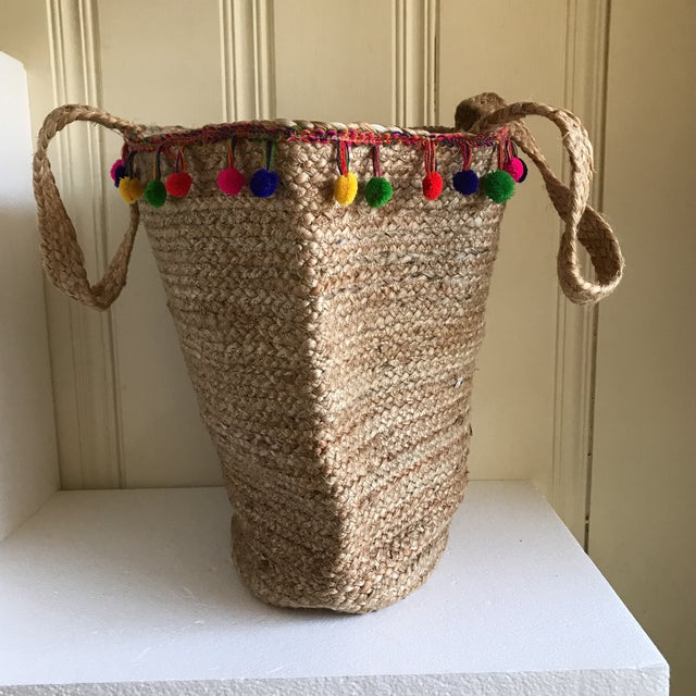 2010s Boho Jute Large Basket Tote For Sale - Image 5 of 12