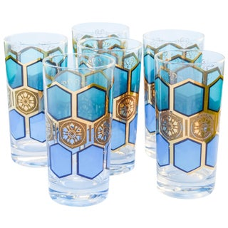 Midcentury Gold-Patterned Highballs, S/6 For Sale