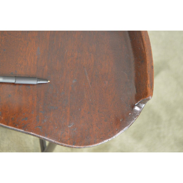 Custom Quality Solid Wood Seat Pair of Iron Backless Bar Stools For Sale - Image 11 of 13