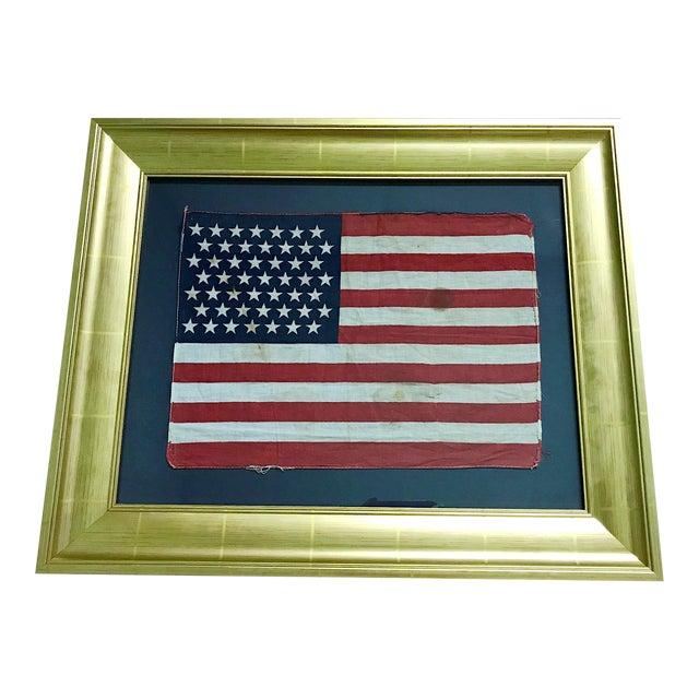 Authentic 49 Star Professionally Framed American Flag Rare Original For Sale