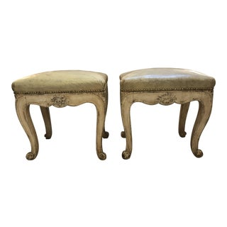 French Creme Painted Stools - a Pair For Sale