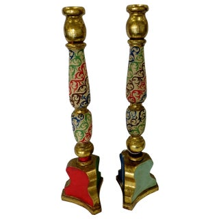 Tall Gilded Antique Candlesticks - Pair For Sale