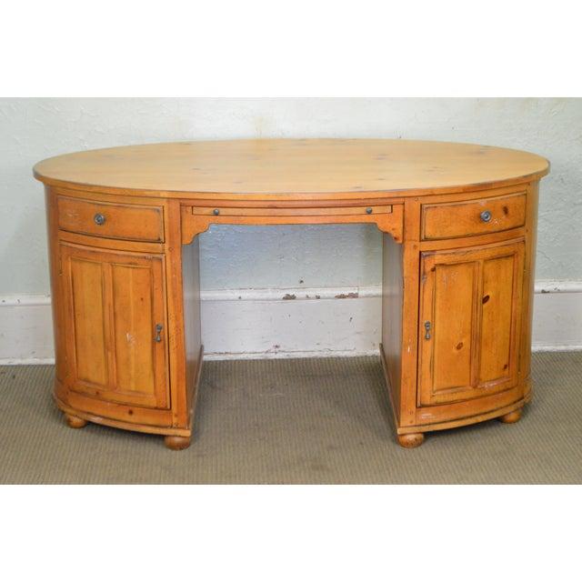 Pine Drexel Heritage Pinehurst Collection Oval Desk For Sale - Image 7 of 13
