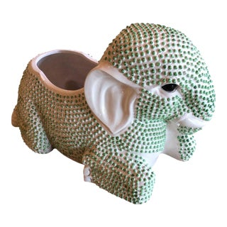 Green Hobnail Elephant Ceramic Planter For Sale