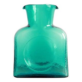 Vintage Mid Century Modern Blenko Aqua Blue Water Pitcher / Carafe For Sale