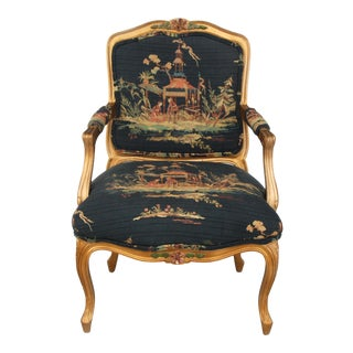 French Bergeres Carved Wood and Chinoiserie Print Armchair For Sale