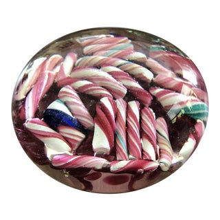 Ed Rithner Murano Art Glass Style Mid Century Candy Cane Paperweight For Sale
