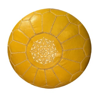 Moroccan Mustard Leather Pouf Ottoman For Sale