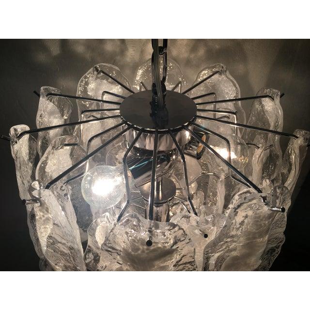 Murano Italian White and Transparent Murano Glass Chrome Metal Frame Sputnik Chandelier For Sale - Image 4 of 12