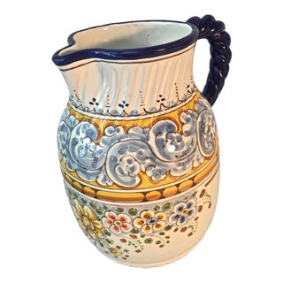 Vintage Blue and Yellow Painted Pottery Talavera Pitcher For Sale