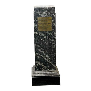 Black Marble Column With Plaque For Sale