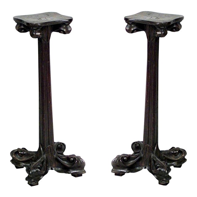 Pair of French Art Nouveau Walnut Low Pedestals For Sale