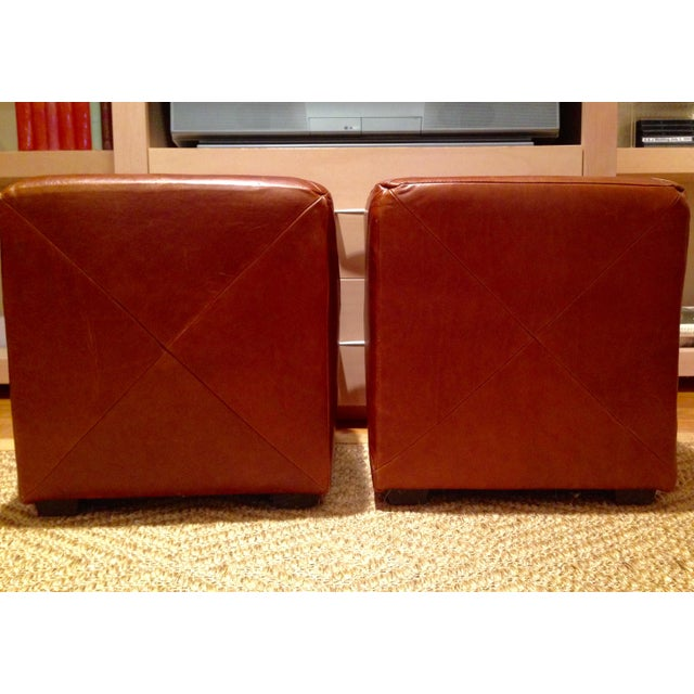 Leather Cube Ottoman - A Pair - Image 3 of 5