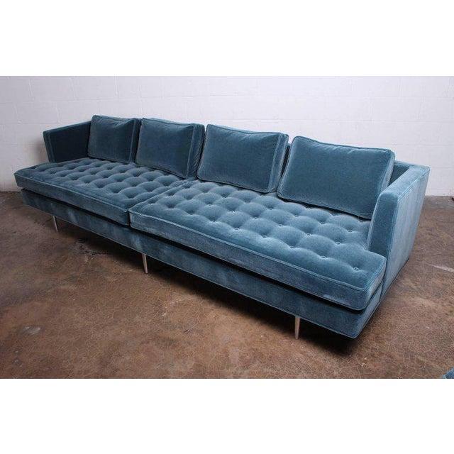 Blue Edward Wormley for Dunbar Sofa Model 4907A For Sale - Image 8 of 11