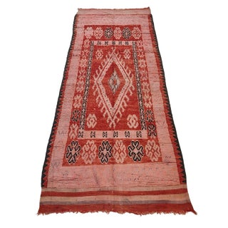 Moroccan Red and Pink Rug - 3′5″ × 10′ For Sale