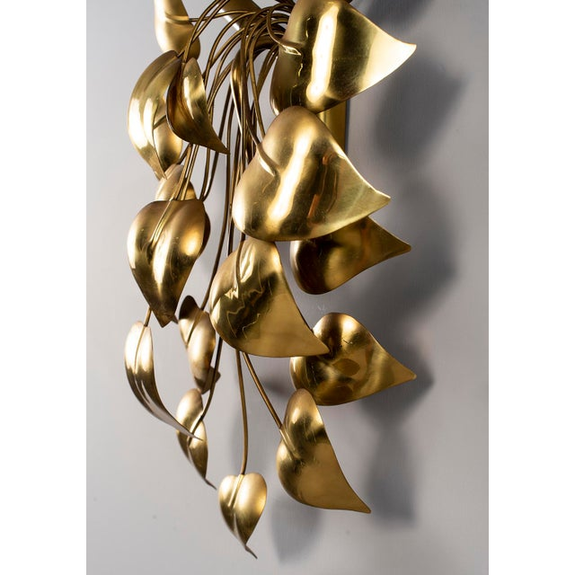 Cascading Leaves Gilt Metal Light Fixture Attributed to Maison Jansen For Sale - Image 10 of 13