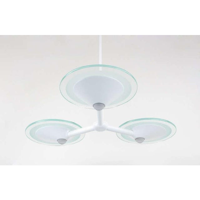 Enamel Postmodern Glass & White Triple Pendant Chandelier For Sale - Image 7 of 8