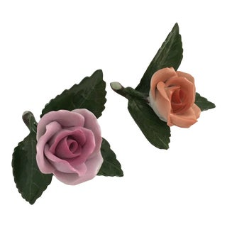 1980s Herend Roses on Leaves Place Card Holders For Sale