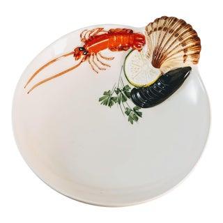 Italian Tre Art Shrimp Bowl With Oyster Shell Fruit For Sale