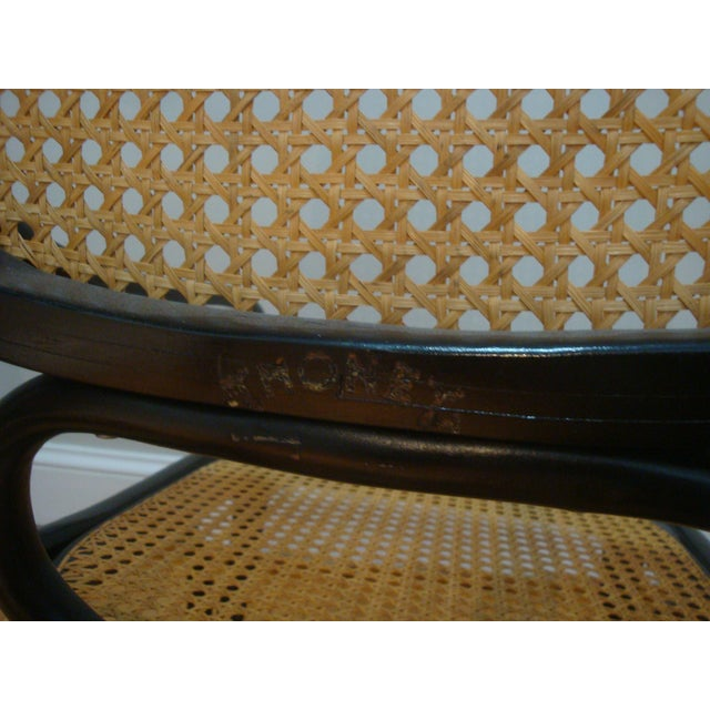 Thonet Authentic Black Thonet Bentwood Cane Rocking Chair Rocker Model No. 10 For Sale - Image 4 of 8