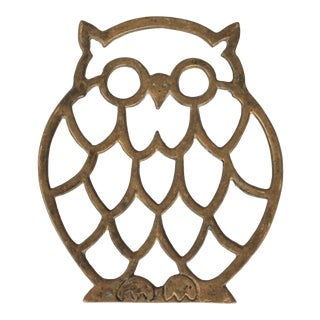 Vintage Brass Owl Trivet For Sale