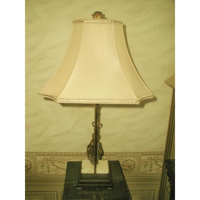 Bronze 1900's French Bronze/Marble Girandole Lamps - Pair For Sale - Image 7 of 7
