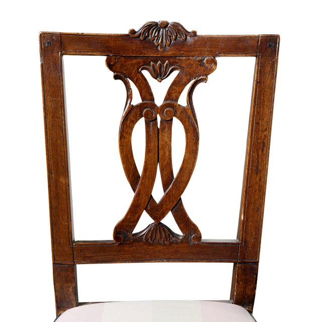 Set of Four Italian Neoclassic Walnut Side Chairs For Sale - Image 4 of 9