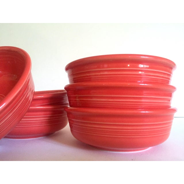 Vintage 1980's Fiesta Ware Homer Laughlin Persimmon Coral Coupe Cereal Soup Bowls - Set of 6 For Sale - Image 9 of 13