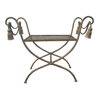 1950s Italian Gilt Iron Faux Rope and Tassels Bench