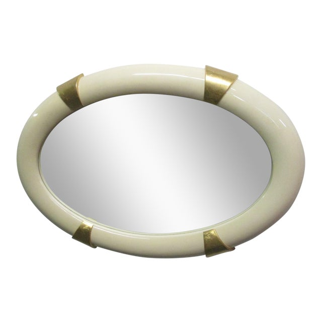 Lacquered Oval Mirror With Gold Gilt Accents For Sale
