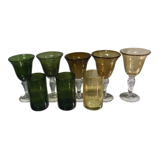 Vintage Mixed Match Amber and Green Bubble Glass Goblets - Set of 8 For Sale