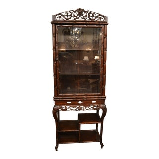 Antique 19th Century Teakwood Display Cabinet For Sale
