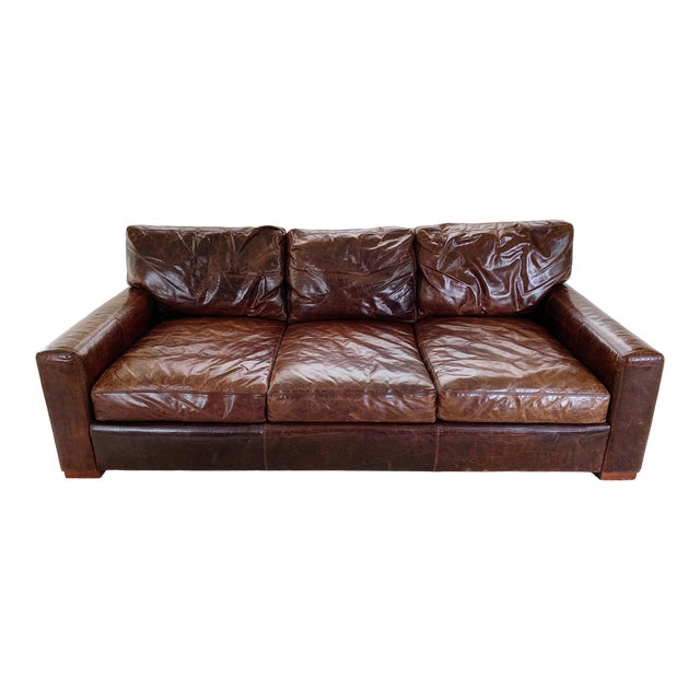 Modern Restoration Hardware Brown Leather Sofa