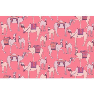 Camels Strawberry Linen Cotton Fabric, 3 Yards For Sale