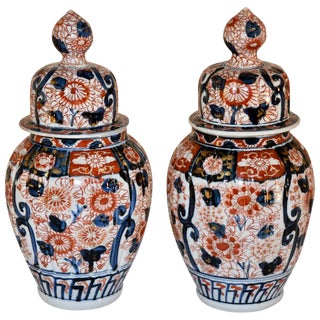 19th C Imari Jars - a Pair For Sale