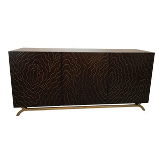 Emporium Home Faux Bois Media Console With Brass Inlay For Sale