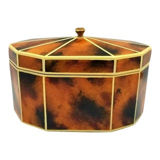 Vintage Maitland Smith Decagon Faux Tortoise Shell and Ivory Banded Decorative Box For Sale