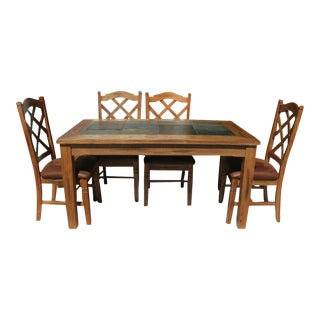 Rustic Slate Inlay Dining Table With Double Crossback Cushion Chairs Set For Sale