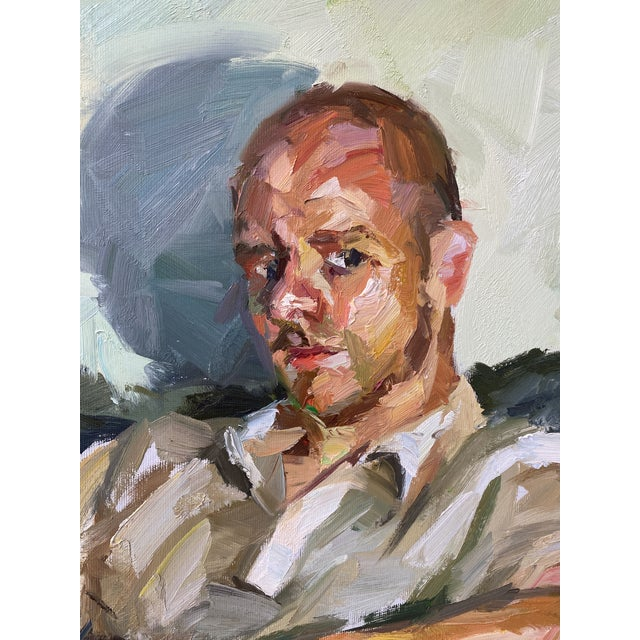 "2000 - 2009 Contemporary Oil Painting by Paul Wright, ""Double Self Portrait"" For Sale - Image 5 of 9"