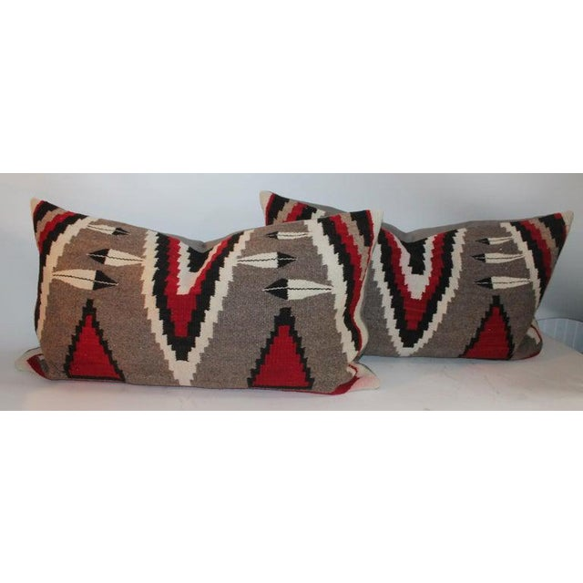 Boho Chic Navajo Indian Weaving Bolster Pillows - a Pair For Sale - Image 3 of 9