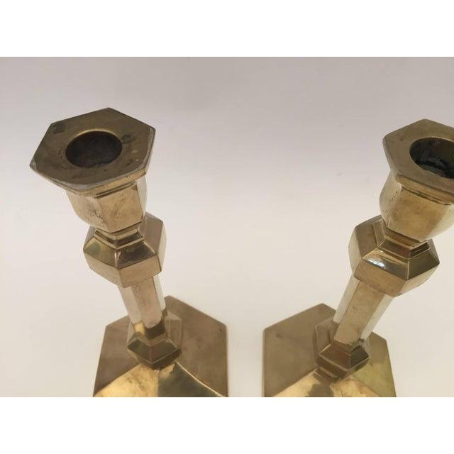Gold Pair of Brass Candlesticks For Sale - Image 8 of 9