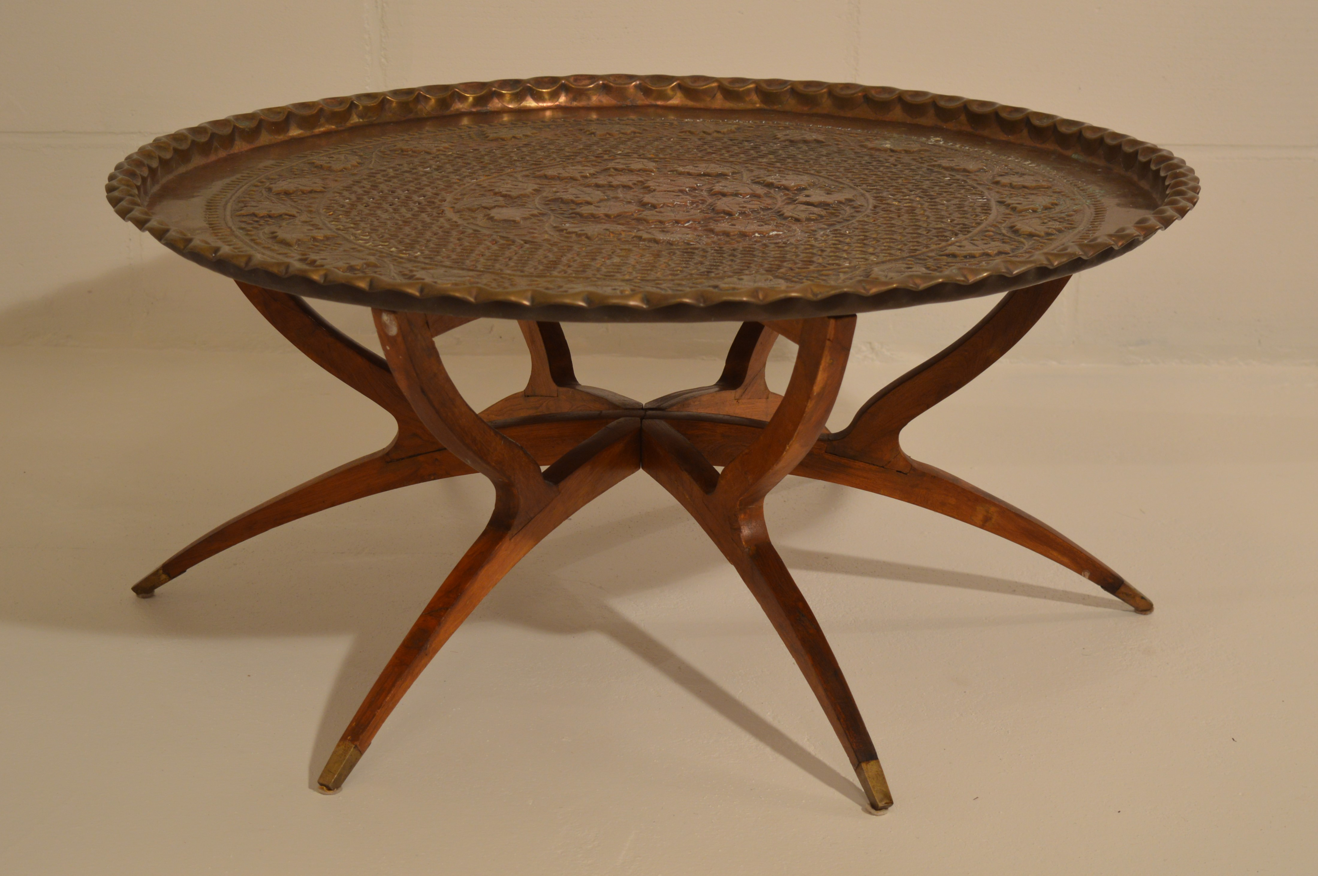 Moroccan Mid Century Folding Table With Brass Tray .   Image 11 Of 11