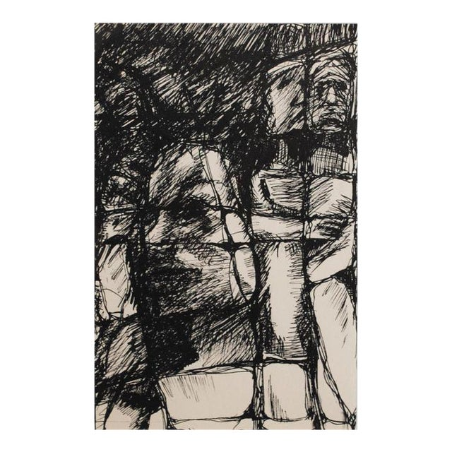 Mid-century original expressionist ink drawing, circa 1960s. Black gallery frame, white archival matting and conservation...