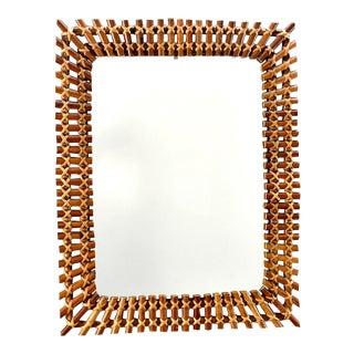 Mid Century Rectangular Bamboo Framed Mirror For Sale