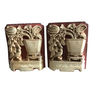 Mid-Century Chalk Ware Bookends - a Pair For Sale