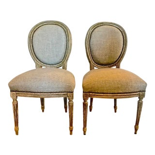 Pair 18th Century Louis XVI Carved and Painted Side Chairs